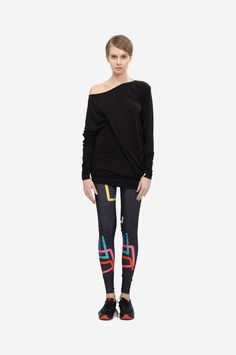 LEGGINGS COLOR PRINT Shorthaired model wearing a black asymentric mini dress and a black leggings with an original colored print. Color Print, Black Leggings, Colorful Leggings, Print Design, The Originals, Blouse, Mini, How To Wear, Collection