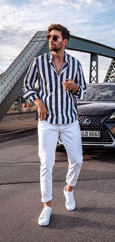 Amazing Outfit Ideas To Steal From Our Favorite Philip Deml. - Men's style, accessories, mens fashion trends 2020 Outfit Hombre Casual, Outfits Casual, Stylish Mens Outfits, Casual Wear For Men, Men Style Casual, Cool Outfits For Men, Summer Outfits Men, Men's Outfits, Grunge Outfits