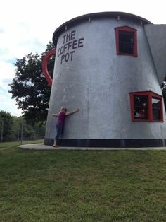 I'm hugging this giant, 18-foot-tall coffee pot, located at the western end of Bedford, PA. It was built in 1927 and originally served as a gas station luncheonette. It used to be on the other side of the road, but was moved and restored by the Lincoln Highway Heritage Corridor in 2004. (Photo by David Zajdel)