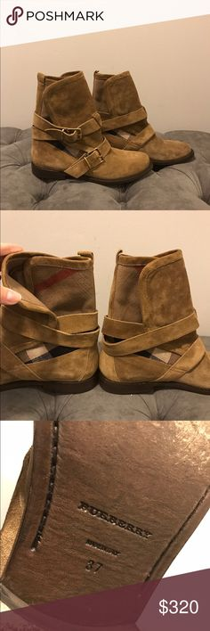 "Burberry booties Burberry Worcester Belted Ankle Suede Booties.  - tan /camel color - size 37/ US 7 - in perfect condition, only worn couple times - front trim has a small ""scuff"" almost noticeable  - no returns Burberry Shoes Ankle Boots & Booties"