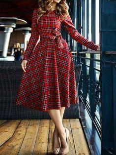 Shop Red Plaid Tie Waist Long Sleeve Skater Dress from choies.com .Free shipping Worldwide.$22.9