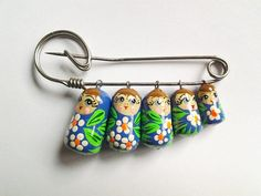 vintage Russian Nesting Dolls pin Brooch Adorable by DejaBlonde, $28.00