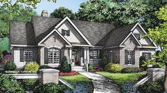 Home Plan HOMEPW78169 - 2295 Square Foot, 4 Bedroom 3 Bathroom European Home with 2 Garage Bays | Homeplans.com