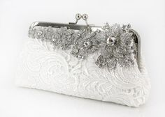 Pretty Clutch with brooch applied - good idea for an evening out too - minus the white lace