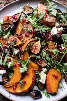 Roasted Squash, Caramelized Fig, And Feta Salad Hbharvest Fig Recipes, Healthy Dinner Recipes, Salad Recipes, Vegetarian Recipes, Cooking Recipes, Easter Recipes, Appetizer Recipes, Vegetarian Salad, Crepe Recipes