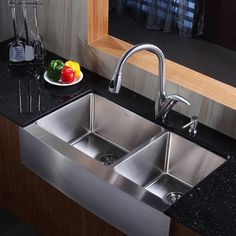 Shop for KRAUS 30 Inch Farmhouse Single Bowl Stainless Steel Kitchen Sink with Kitchen Bar Faucet and Soap Dispenser in Stainless Steel. Stainless Steel Kitchen Faucet, Steel Kitchen Sink, Pull Out Kitchen Faucet, Double Bowl Kitchen Sink, Farmhouse Sink Kitchen, Modern Farmhouse, Farm Sink, Modern Kitchen Sinks, Kitchen Sink Design