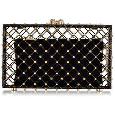 Charlotte Olympia Handbags Linear Pandora Black and Gold Clutch ($1,630) ❤ liked on Polyvore featuring bags, handbags, clutches, bolsas, bolsos, vintage hand bags, hand bags, black and gold handbag, charlotte olympia and man bag