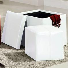 Inspire Q Swayne White Storage Ottoman with Mini (Swayne White Cube Ottoman) (Faux Leather)