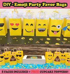 Emoji Party Favor Bags/ DIY Emoji Birthday Party Ideas/ Decorations/ Printable Emoji Faces/ plates/ Emoji Poop/ Favor bags/ Emoji/ candy/ goody/ goodie/ gift/ Treat/ bags/ boxes/ emoji cake/ emoji cupcakes/ toppers/ cookies/emoji balloons/ stickers/ emoji piñata/ emoji dress tutu/ bottle labels/ bolo/ pastel/ emoji favors/ invites/ emoji birthday invitations/ banner/ free/ emoji/ teen party ideas/ emoji backdrop/ emoji photo props/ emoji party games/ emoji party printables/ emoji birthday…