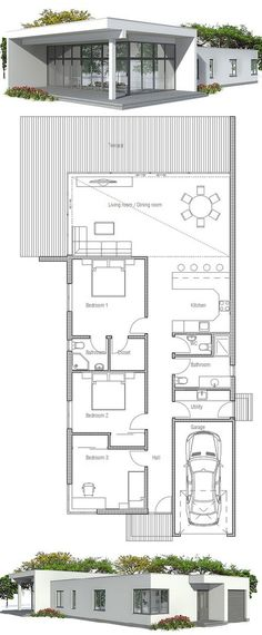 Narrow House Plan with three bedrooms. Floor Plan from ConceptHome.com