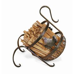 This alluring Wrought Iron European firewood basket caddy exudes European rustic appeal with the decorative leaf design. Functional yet decorative, the Wrought Iron European firewood caddy angles the Firewood Basket, Firewood Rack, Firewood Storage, Metal Projects, Metal Crafts, Art Projects, Log Holder, Blacksmith Projects, Fireplace Tools