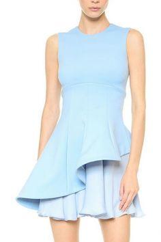 Light Blue Plain Fitted Asymmetric Chiffon Hem Round Neck Sleeveless Dress