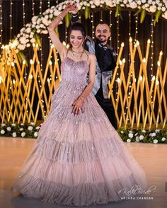 Indian Wedding Flowers, Indian Bridal, Champagne Gown, Indian Outfits, Indian Attire, Indian Clothes, Black Harem Pants, Embellished Gown, Engagement Dresses
