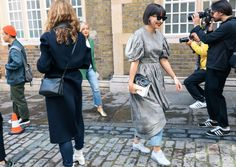 Clara Cornet in a Simone Rocha dress and Nike shoes with a JW Anderson bag