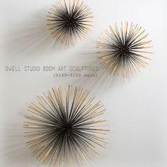 "To make you'll need 2"" styrofoam balls (smooth), 10"" bamboo skewers, gold metallic spray paint (Rustoleum), black metallic spray paint, and ..."