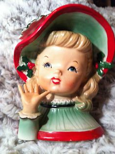 Napco Christmas Head Vase Beautiful Little Girl Large Red Green Hat with Holly - I love her!