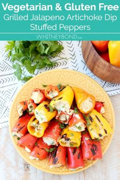 Grilled stuffed peppers are made with sweet mini peppers, filled with an easy, delicious creamy artichoke dip, creating the perfect appetizer for your next BBQ! #vegetarian #recipe #glutenfree #grilling #cooking #stuffedpeppers