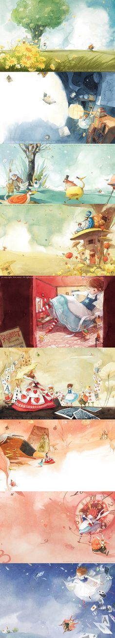 Alice in Wonderland illustrations by the Korean born artist Kim Min Ji. Children's Book Illustration, Watercolor Illustration, Watercolor Art, Adventures In Wonderland, The Draw, Illustrations And Posters, Conte, Cute Art, Illustrators