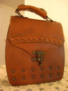 Vintage Studded Leather Handbag with Unique by OddballOddities, $20.00