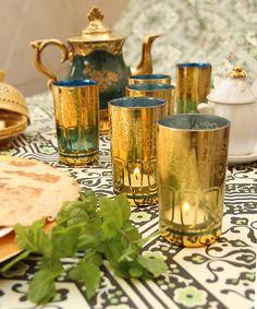 teal gold moroccan tea