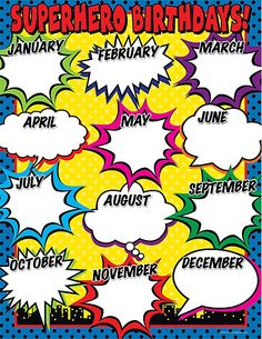 Superhero Birthday Chart is part of Superhero classroom theme - Superhero Birthday Chart, Convenient, useful learning tools that decorate as they educate! Each chart measures 17 by 22 Related lessons and acti Classroom Birthday, Classroom Design, School Classroom, Future Classroom, Birthday Bulletin, Movie Classroom, Birthday Wall, Superhero Classroom Decorations, Classroom Themes