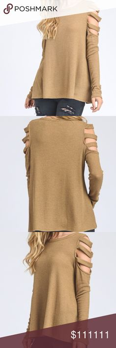 Open shoulder long sleeve top Waffle knit long sleeve top with cut out feature on shoulders A underneath cami can be worn with this top  Dimensions:  Small: Bust 17, length 25 Medium: Bust 19, length 26 Large: Bust 20, length 26.5  49% POLYESTER  49% RAYON  2% SPANDEX  TO GET NOTIFIED ONCE THIS ARRIVES LIKE THIS ITEM!!!! Sweaters