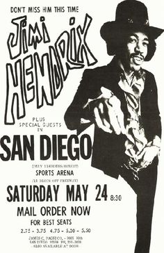 Concert poster for Jimi Hendrix at the San Diego Sports Arena in San Diego, CA in 1969. 11 x 17 high quality reproduction on card stock.