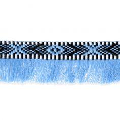 Galon franges Inca Motifs Ethniques 30 mm Bleu/Noir x1m