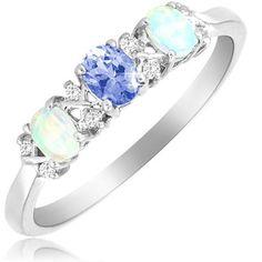 $19.99 - Tanzanite & Milky Opal Three Stone Diamond Accent Sterling Silver Ring