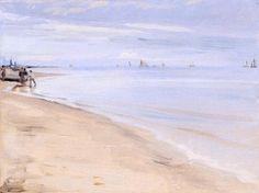 Beach at Skagen - Peder Severin Kroyer - The Athenaeum Seascape Paintings, Oil Painting On Canvas, Canvas Art, Skagen, Hans Holbein Le Jeune, Brande, Stavanger, Scandinavian Art, Artist