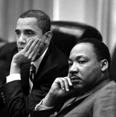 President Obama next to Dr Martin Luther King III
