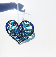Stained+Glass+Heart+Suncatcher+Indigo+Blue+by+GaleazGlass+on+Etsy,+$90.00