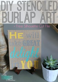 DIY Stenciled Burlap Art + Free Stencil Cut Files!