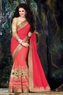 Yuvika Chaudhary Pink-Red Color Designer Chiffon-Georgette-Net Party Saree