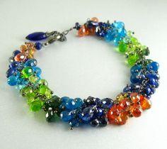 Colorful Handmade Gemstone Bracelet With Oxidized por SurfAndSand, $310.00