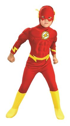 Kids Flash Muscle Chest Costume - Super-Speed is the name of the game when your kids want to be The Flash! This is an officially licensed costume from DC Comics. It comes with a muscle chest jumpsuit with attached boot tops, belt and character mask. Solve crimes this Halloween with this fun Flash costume. Great for dressing up, school and fun group costume with other DC comics characters. #YYC #Calgary #costume #Flash #TheFlash #DCComics