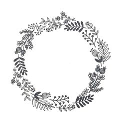 Hand Embroidery Patterns, Embroidery Art, Wreath Drawing, Floral Drawing, Doodle Lettering, Wreath Watercolor, Frame Wreath, Doodle Art, Zentangle