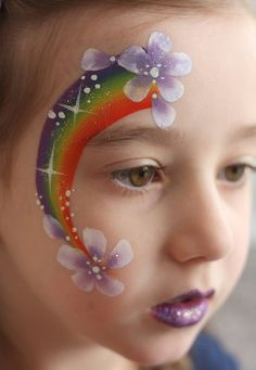 Love This Simple But Beutiful Rainbow and Flower Design ♥'d by http://makeupartistrycairns.com.au