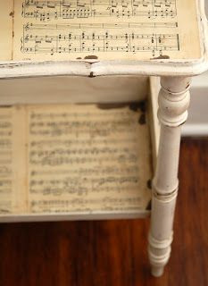 Sheet music side table DIY... also check out link to Mod Podge table