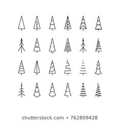 Stock Vector 332137799 with Thin Line Pine Tree Icon Set (Royalty Free) - Outline Christmas Tree Spruce - Christmas Tree Outline, Christmas Tree Graphic, Christmas Tree Drawing, Christmas Tree Design, How To Draw Christmas Tree, Outline Drawings, Easy Drawings, Logo Noel, Icon Set