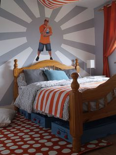 wrestling theme with john cena wall decal in a little boys room before and. beautiful ideas. Home Design Ideas