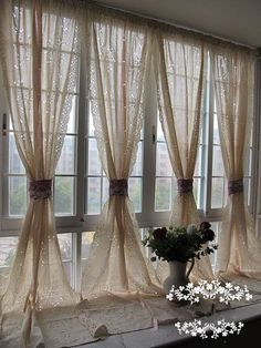 Pair of Shabby Chic Blossom Vine Drawnwork Rod Pocket/Pinch Pleated Creamy Decorative Pull-up Sheer Panels, French Country Style – Curtains 2020 Shabby Chic Living Room, Shabby Chic Bedrooms, Shabby Chic Kitchen, Shabby Chic Homes, Shabby Chic Furniture, Shabby Chic Decor, Shabby Chic Salon, Shabby Chic Curtains, Rustic Curtains