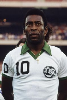 Brazilian footballer Pele lining up before a game in New York. (Photo by Luiz…