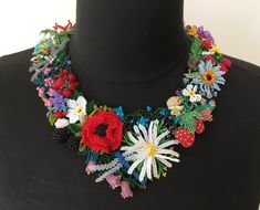 Taste of summer - this exclusive beaded necklace will remind you of sunny summer days, smell of wild flowers and taste of summer berries. It was made of seed beads, pearls, Swarovski crystals, agate and summer mood. This necklace was MADE TO ORDER. If youd like to have something