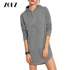 ZOFZ 2017 New Sexy Women Dress Long Sleeve Hooded spring Autumn Loose Casual Sweatshirt mini dresses clothes for pregnant women