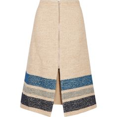SEA Striped silk and wool-blend midi skirt (£163) ❤ liked on Polyvore featuring skirts, beige, striped midi skirt, pink silk skirt, zipper skirt, mid calf skirts and petite midi skirt