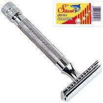 Instead of throw away plastic: Parker 91R Super Heavyweight Double Edge Safety Razor & 10 Shark Chrome Blades