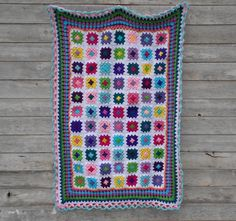 Bright Granny Square Blanket  Girls Bright by NobleCharacterCrafts