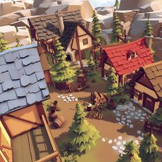 I made most of the low poly models. My client created some of them as well and m… I made most of the low poly [. Environment Concept Art, Game Environment, Environment Design, Game Design, Bg Design, Detail Design, Low Poly Games, Polygon Art, Fantasy House