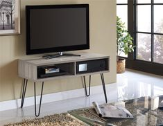 "Owen Retro TV Stand for TVs up to 42"", Sonoma Oak Finish with Gunmetal Gray Metal Legs"